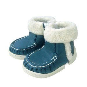 NWT Blue Vegan Leather Baby Toddler Shoes Boots